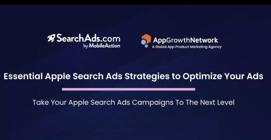 A screenshot of the webinar with Mobile Action and App Growth Network